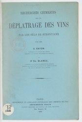 Recherches chimiques sur le déplâtrage des vins par les sels de strontiane