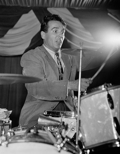Gene Krupa was the first jazz drummer to lead his own big band (1946). Gene Krupa crop.jpg
