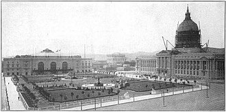 San Francisco City Hall - Civic Auditorium (L) and New City Hall (R) under construction (circa 1916), with Civic Center Plaza in the foreground
