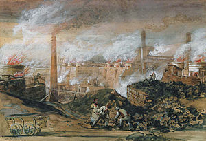 Merthyr Tydfil County Borough - Dowlais Ironworks by George Childs (1840)