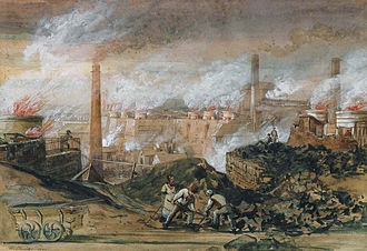 Glamorgan - Dowlais Ironworks by George Childs (1840)