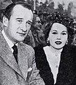 George Sanders with his new bride Zsa Zsa Gabor, 1949.jpg