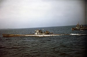 German submarine U-805 being escorted to Portsmouth Navy Yard in May 1945.jpg