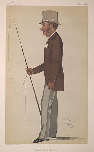 "Gilbert Heathcote-Drummond-Willoughby, 1st Earl of Ancaster - ""A great officer of State"". Caricature by Spy published in Vanity Fair in 1881."