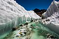 Glacial melt water carving the ice, river source Himalayas India.jpg