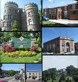 From top left: Grey Towers Castle, Glenside Welcome Sign at Limekiln Pike & Easton Road, Downtown Glenside, Glenside Trust Company Building, Philadelphia Skyline, former Glenside National Bank building, Glenside Memorial Hall