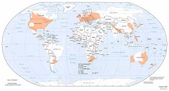 Areas worldwide where tornadoes are most likely, indicated by orange shading Globdisttornado.jpg