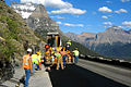 Going-to-the-Sun Road, construction crew paving around milepost 33.jpg