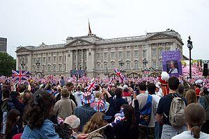 Golden Jubilee of Queen Elizabeth II - People wave their flags outside Buckingham Palace
