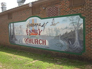 Goldonna, Louisiana - Mural of Goldonna Family Church, located across from the United States Post Office