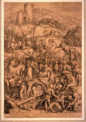 English: Engraving of Jesus Christ on Golgotha.