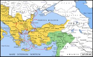 L'invasione delle genti gotiche del 267/268-270 durante i regni di Gallieno e Claudio il Gotico. In colore verde il regno di Palmira della regina Zenobia e Vaballato.