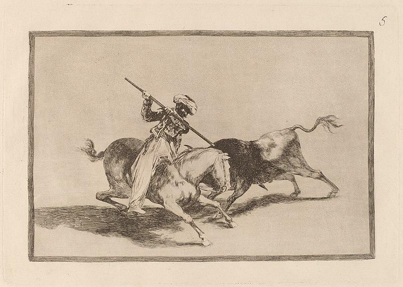 File:Goya - El animoso moro Gazul es el primero que lanceo toros en regla.jpg