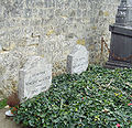 Two graves and two gravestones side by side; heading behind a bed of green leaves, bearing the remains of Vincent and Theo Van Gogh, where they lie in the cemetery of Auvers-sur-Oise. The stone to the left bears the inscription: Ici Repose Vincent van Gogh (1853–1890) and the stone to the right reads: Ici Repose Theodore van Gogh (1857–1891)