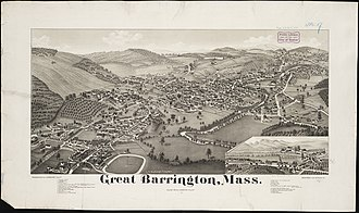 Great Barrington, Massachusetts - Print of Great Barrington from 1884 by L.R. Burleigh with listing of landmarks