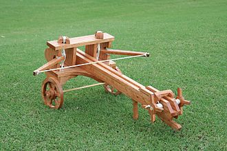 History of weapons - A replica of a Greek/Roman catapult used for launching darts or large arrows