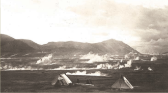 """Valley of Ten Thousand Smokes - Griggs camp during the 1917 expedition clearly showing the numerous """"smokes"""""""