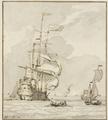 Großes Schiff von links nach hinten segelnd, vorne ein Ruderboot und mehrere andere Schiffe (SM 2794z).png