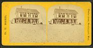 """Group of people on the porch of a house emblazzed with the words """"Our House"""", from Robert N. Dennis collection of stereoscopic views"""