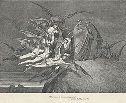 Dante's guide rebuffs Malacoda and his fiends between bolgia five and six in the Eighth Circle of Hell, Inferno, Canto 21.