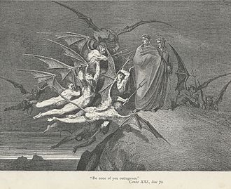 Malebranche (Divine Comedy) - The Malebranche threaten Virgil and Dante, portrayed by Gustave Doré.