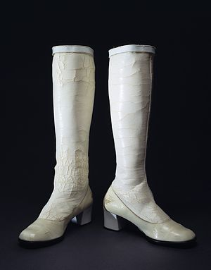 Go-go boot - Early 1970s white vinyl go-go boots