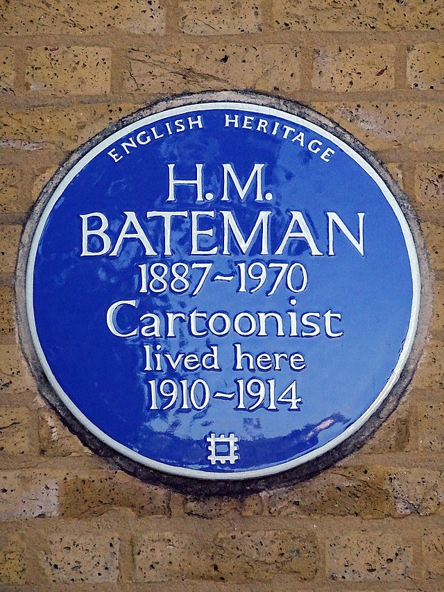 H. M. Bateman blue plaque - H. M. Bateman 1887-1970 cartoonist lived here 1910-1914
