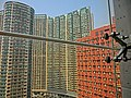 HK PolyU Hung Hom Bay Campus 8 Hung Lok Road HKCC glass wall window view Royal Peninsula Mar-2013.JPG