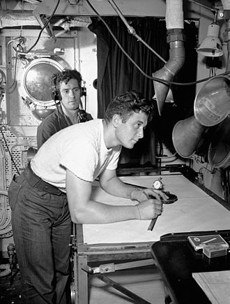 Battle of Audierne Bay - Radar plotters Able Seamen William Ewasiuk and Harry Henderson of HMCS Iroquois, 21 August 1944