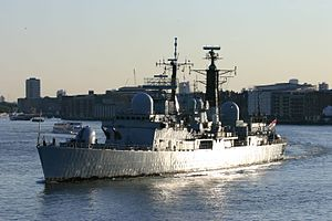 HMS Exeter (D89) - Image: HMS Exeter Sailing Down The Thames In London