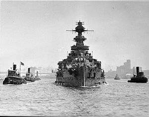 HMS Malaya Leaving New York Harbour After Repairs, 9 July 1941 A5444.jpg