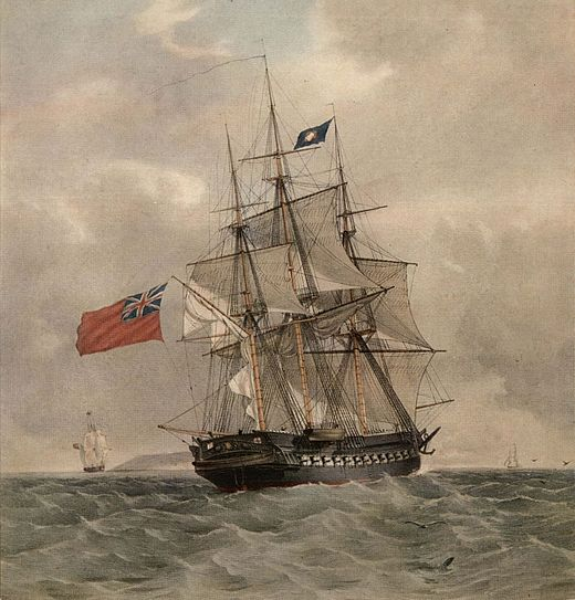 HMS Pomone, a colour lithograph by T. G. Dutton, after a painting by G.F. St.John HMS Pomone (retouched).jpg
