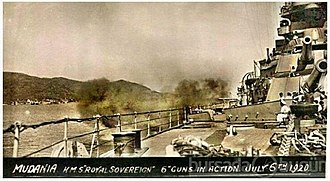 Greek Summer Offensive (1920) - Image: HMS Royal Sovereign bombing Mudanya July 1920