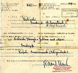 Red Cross message from Łódź, Poland, 1940.