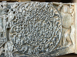 Intricate rock carvings showing, Abhimanyu entering the Chakra vyuha.