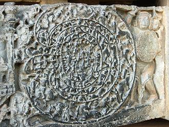 Labyrinth - Carving showing the warrior Abhimanyu entering the chakravyuha – Hoysaleswara temple, Halebidu, India