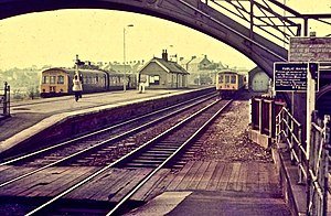 Haltwhistle railway station - September 1973 trains for Newcastle and Alston