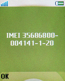 Esempio di IMEI mostrato sullo schermo di un telefono cellulare