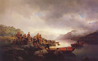 Sognefjord - 1853 painting of Sognefjord by Hans Gude and Adolph Tidemand.