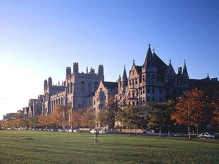 University of Chicago from the Midway Plaisance Harper Midway Chicago.jpg