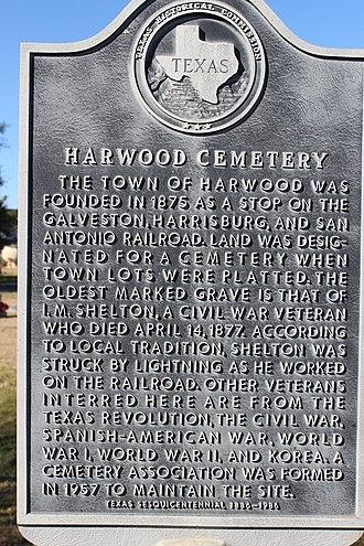 Harwood, Texas - Image: Harwood cemetery 2016 1