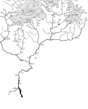 Map showing the Himalayan headwaters of the Ga...