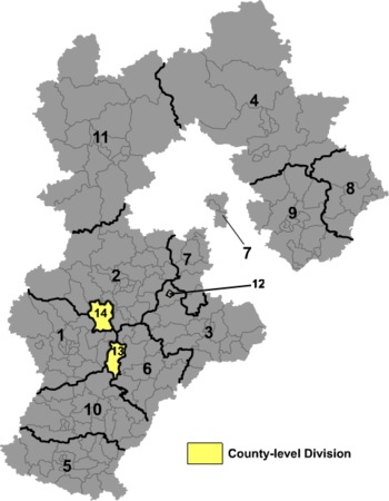 A clickable map of Hebei exhibiting its prefectures.