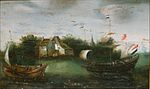Hendrik Cornelisz. Vroom (attrib.) - Een zeeschip vaart een binnenwater op.jpg
