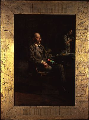 Henry Augustus Rowland - Portrait of Rowland holding a diffraction grating by Thomas Eakins