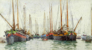 Henry Scott Tuke - Gaily coloured fishing vessels at anchor.jpg