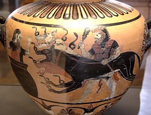 Caere - An ancient Etruscan vase from Caere (ca 525 BC) depicting Heracles presenting Cerberus to Eurystheus.