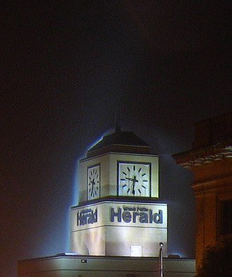 Grand Forks Herald - The clock tower of the Herald building in downtown Grand Forks