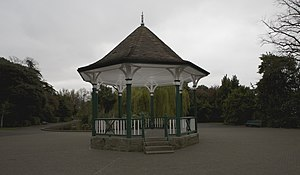 Herbert Park - The bandstand, with the pond in the background, both dating from the Irish International Exhibition in 1907.