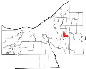 Location of Highland Hills in Cuyahoga County